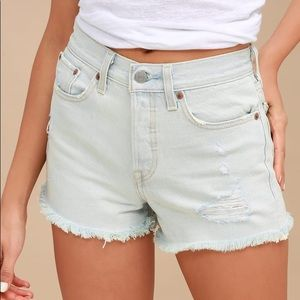 Levi's High Rise Wedgie Fit Light Wash Shorts